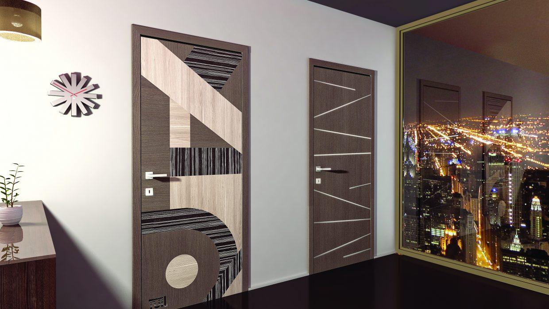 Fémintarziás beltéri ajtó /CPL, festett, furnér/